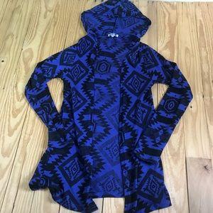 Blu 💙 Aztecs Light Knight Hooded Cardigan A